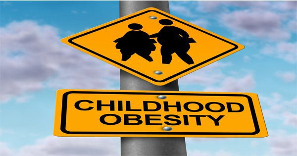 blog picture of street signs that show overweight children silhouette and the words childhood obesity