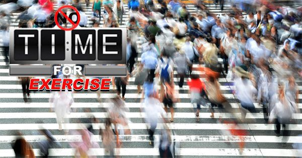 blog picture of many people bustling through the street with the words no time for exercise
