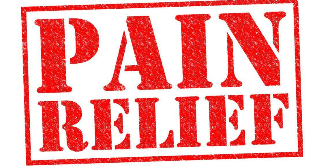 stock photo pain relief red rubber stamp over a white background
