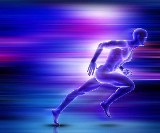 d male figure sprinting